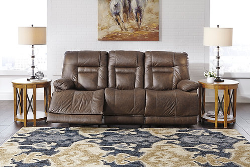 Wurstrow Umber Top Grain Leather Power Reclining Sofa