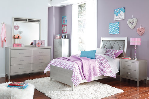 Olivet Silver Upholstered Twin Bedroom Set