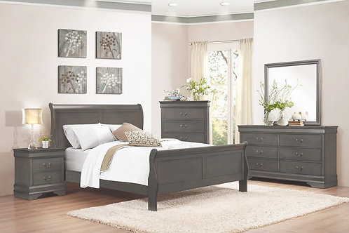 Louis Phillipe Gray Rustic Sleigh Bedroom Set