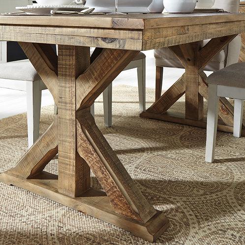 Grindleburg Light Brown Trestle Dining Table