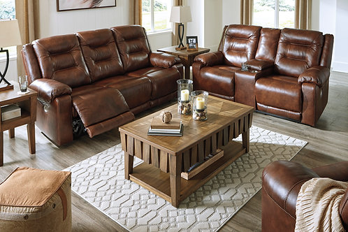 Golstone Leather Power Reclining Sofa & Loveseat