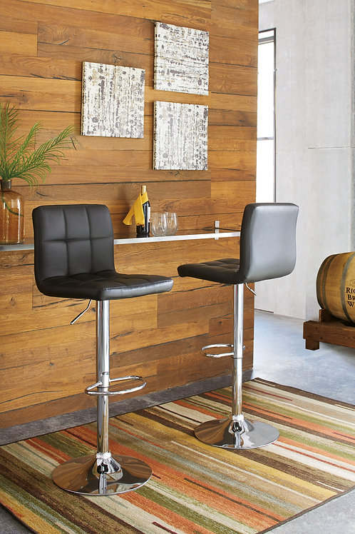 Bellatier Black / Chrome Tall Upholstered Swivel Barstools