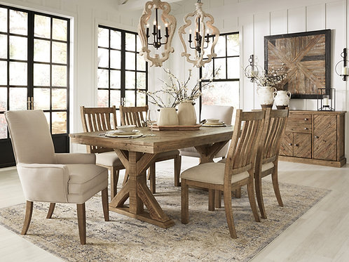 Grindleburg Light Brown Dining Table & 6 Side Chairs