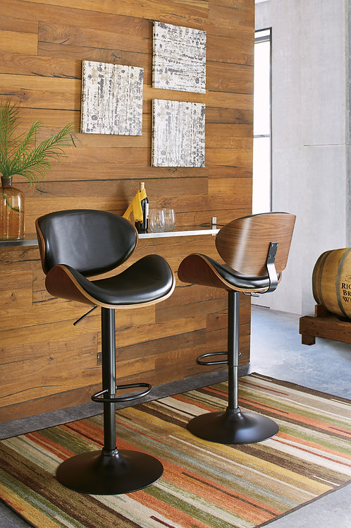 Bellatier Black Tall Upholstered Swivel Barstool