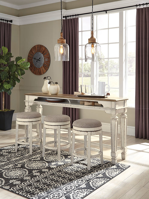 Realyn White Long Counter Height Table
