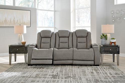 Man-Den Gray Power Reclining Sofa