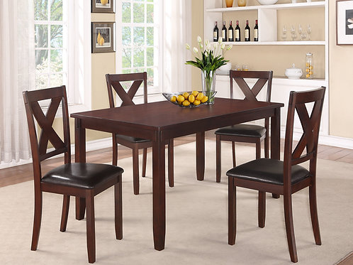Clara Espresso Dining Table & 4 Chairs