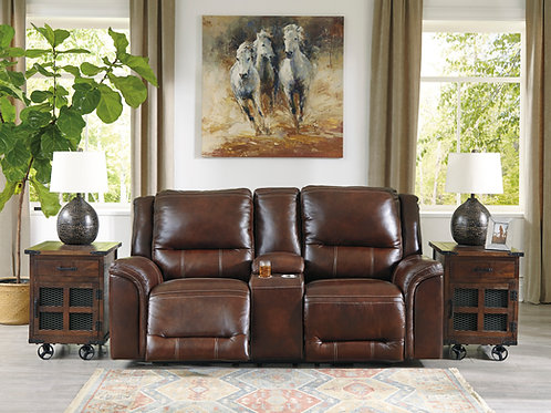 Catanzaro Mahogany Leather Power Reclining Loveseat