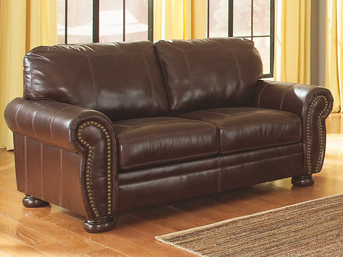 Banner Coffee Leather Loveseat