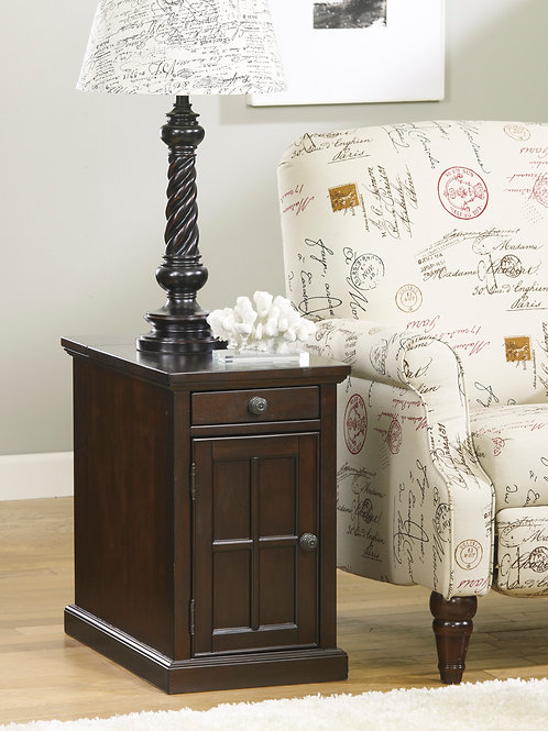Laflorn Dark Brown Chair Side End Table