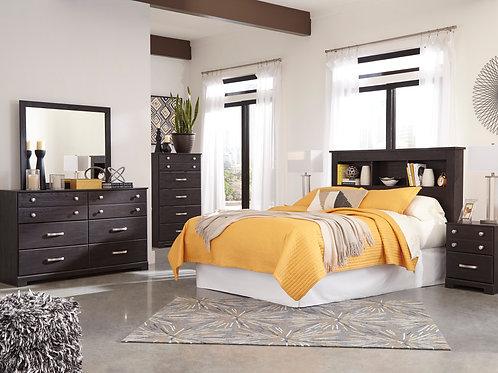 Reylow Dark Brown Bookcase Bedroom Set