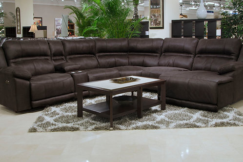 Braxton Chocolate 6-Piece Sectional with Console