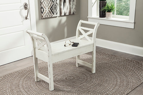 Heron Ridge Antique White Storage Bench