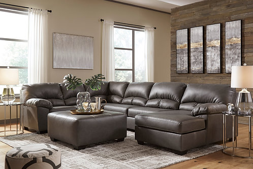 Aberton 3-PC Gray Sectional (RSF Chaise)