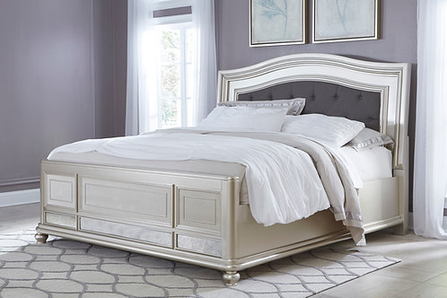 Coralayne Silver Upholstered Panel Bed