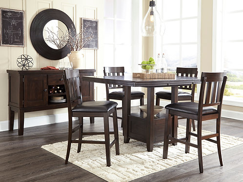Haddigan Espresso Pub Height Table & 4 Barstools