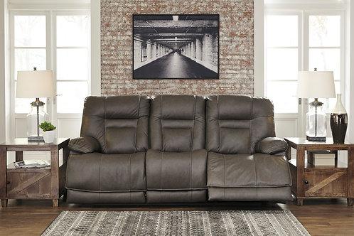 Wurstrow Smoke Top Grain Leather Power Reclining Sofa