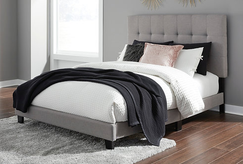 Adelloni Gray Upholstered Queen Platform Bed