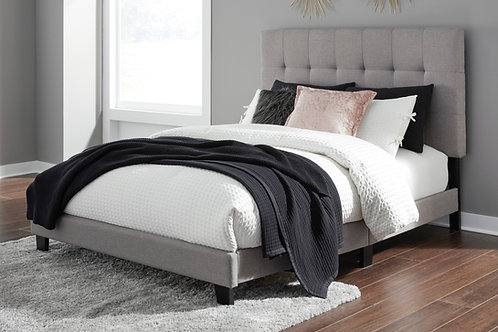 Adelloni Light Gray Upholstered Queen Platform Bed