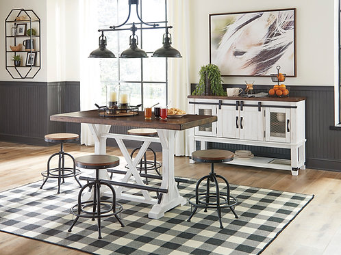 Valebeck Counter Table & 4 Adjustable Stools