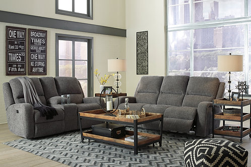 Krismen Charcoal Power Reclining Sofa & Loveseat