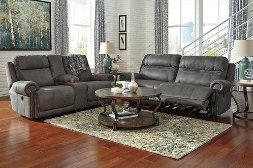 Austere Slate Wide-Seat Reclining Sofa & Loveseat w/Console
