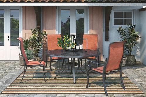 Burnella Lattice Round Table & 4 Orange Chairs