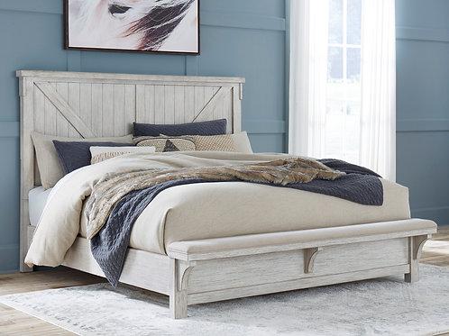 Brashland Rustic White Panel Bench Bed