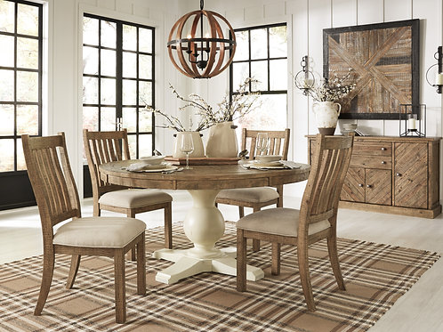 Grindleburg Two-Tone Round Table & 4 Side Chairs
