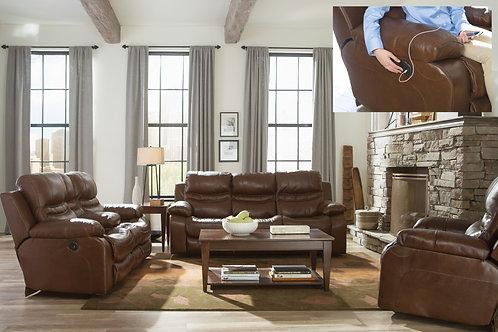 Patton Chestnut Reclining Sofa & Loveseat (Lay-Flat)
