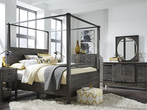 Abington Charcoal Rustic Canopy Bed