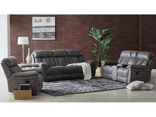 Caymen Gray Reclining Sofa OR Loveseat wtih Storage Console
