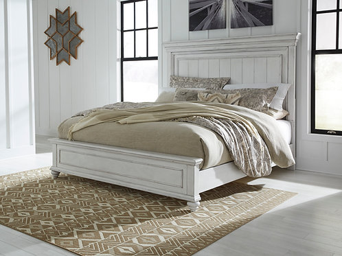 Kanwyn Vintage White Queen Panel Bed
