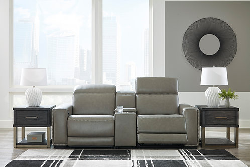 Correze Gray Leather Power Reclining Loveseat with Console