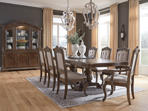 Charmond Brown Dining Table with 6 Side Chairs & 2 Arm Chairs