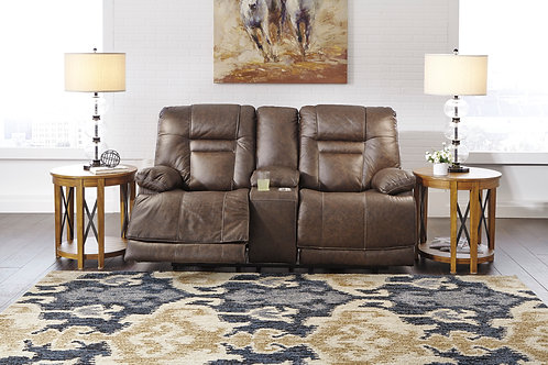 Wurstrow Umber Top Grain Leather Power Loveseat w/Console