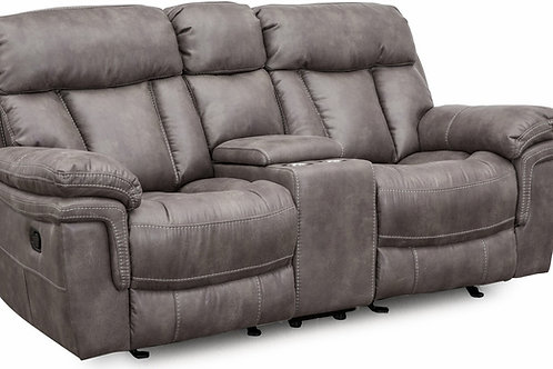 Caymen Gray Reclining Loveseat with Storage Console