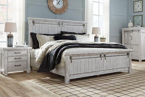 Brashland Rustic White Panel Bed