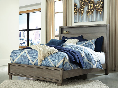 Arnett Gray Queen or Full Bookcase Bed