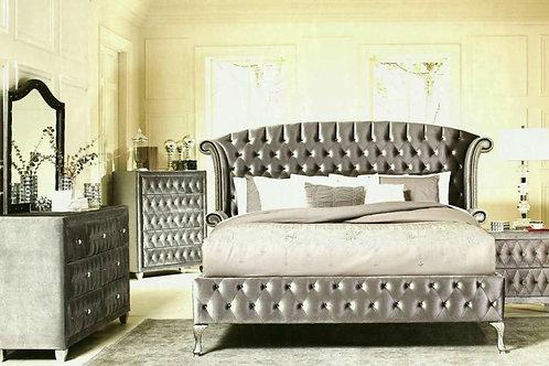 Deanna Gray Velvet Bedroom Set