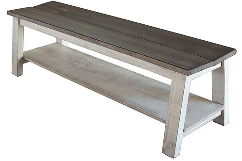 Stone White Solid Wood Dining Bench