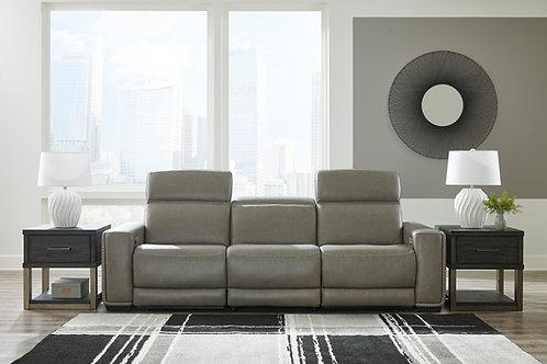 Correze Gray Leather Power Reclining Sofa