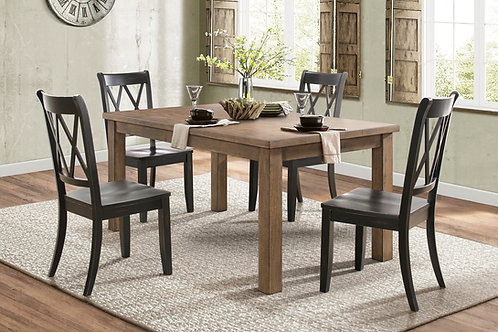 Janina Dining Room Table & 4 Black Chairs