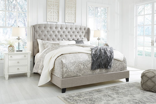 Jerary Gray Wingback Upholstered Queen Bed