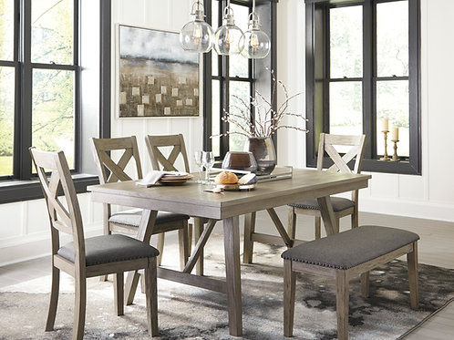 Aldwin Gray Dining Room Table & 4 Chairs