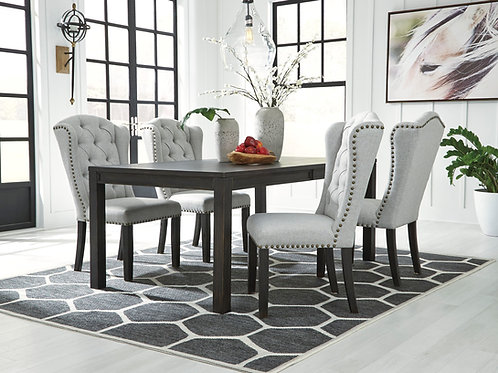 Jeanette Dining Table & 4 Upholstered Chairs