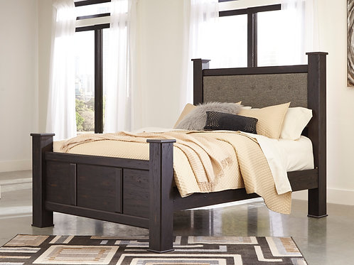 Reylow Dark Brown Poster Bed