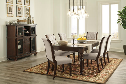 Porter Dining Table & 6 Upholstered Side Chairs