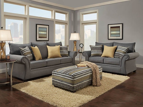Jitterbug Gray Sofa & Loveseat Set