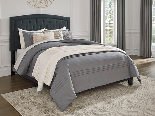 Adelloni Charcoal Upholstered Queen Platform Bed